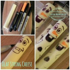 "Olaf String Cheese 14 Must-Have Ideas For Throwing Your Own ""Frozen"" Themed Party Olaf Party, Disney Frozen Party, Frozen Birthday Party, 4th Birthday Parties, Birthday Ideas, Birthday Activities, Frozen Movie, Birthday Stuff, Party Activities"