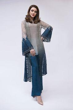 Maria B Latest Evening Wear Dresses Grey Suit Pakistani Fashion Casual, Pakistani Dresses Casual, Pakistani Dress Design, Indian Fashion, Casual Dresses, Fashion Dresses, 50 Fashion, Fashion Styles, Fashion Trends