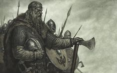 Odin didn't keep the warriors only to enjoy. He did everything for a purpose. Until the days of Ragnarok, the warriors would take the side of Odin and fought for their master. But no matter how hard the Einherjar attempted to fight in battle, they fell with their master as what prophesied before. Viking Warrior, Vikings, Battle, Drawings, Painting, Warriors, Purpose, Inspiration, Scandinavian
