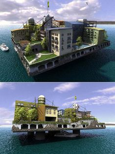 Swimming City concept from Andras Gyorfi took top prize in the first Seastead design contest. Featuring all of the amenities of home (and then some) the Swimming City is meant to be a luxury ocean resort, but it could easily become the model for sea-bound communities of the future.