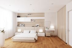 Bedroom:Simple White Modern Bedroom Design Ideas With White Modern Bedsheet And Rectangle White Nightstand Combine Drum Shape White Table Lamp Plus Textured Wood Floor Master Modern White Bedroom Decor Ideas White Bedroom Design, White Bedroom Decor, White Bedroom Furniture, Bedroom Designs, Bedroom Ideas, White Bedrooms, Girls Bedroom, Bedroom Modern, Fitted Bedrooms