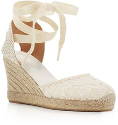 Pin for Later: This 1 Type of Shoe Is the Key to Staying Polished on Vacation  Soludos Lace Ankle-Tie Espadrille Wedge Sandals ($95)