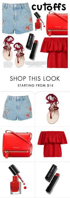 """""""The Final Cut: Denim Shorts (Contest Entry)"""" by raniaghifaraa ❤ liked on Polyvore featuring Topshop, Steve Madden, Givenchy and Bobbi Brown Cosmetics"""