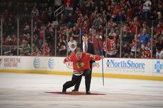 Former Chicago Bears defensive tackle, Steve McMichael celebrates after making a goal. #ShootThePuck