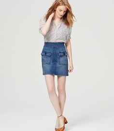Denim Skirt in Summit Blue Wash