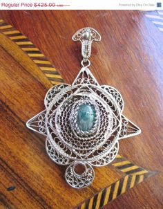 SALE Large Handmade Silver Wirework Pendant With Zambian Emerald Cabochon by Gementia13Jewels