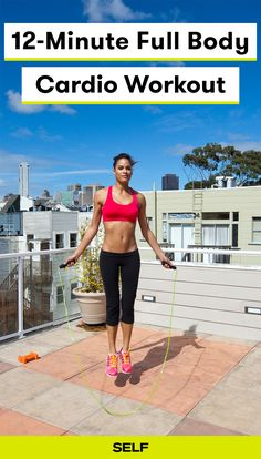 This full body cardio workout can be done at home or anywhere! This intense workout only takes 12 minutes. Do the circuit three times for maximum results with jump squats, push-ups, and jump rope!