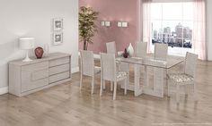 Conjunto para Sala de Jantar com Mesa com tampo de vidro, 6 Cadeiras e Balcão Buffet Ébano Touch - Lopas