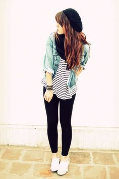 white shoes, block legging, beanie, and stripes! I love the casual white shoe with leggings or skinny jeans!