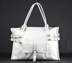 White Genuine Leather Women Tote Bag-Ipad-laptop-Wearable-Shopper-Commuter Bag Satchel