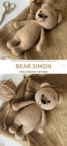 Bear Simon Free Crochet Pattern Cute And Timeless Amigurumi Bears. This sweet bear is a true classic – and we all know that teddy bears are children best friends! They are great friends and. Crochet Crafts, Crochet Projects, Knit Crochet, Crotchet, Simple Knitting Projects, Patron Crochet, All Free Crochet, Afghan Crochet, Crochet Pillow