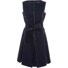 Paule Ka Sleeveless Cotton Dress with White Top Stitch Detail and Self... ($785) ❤ liked on Polyvore featuring dresses, navy, white pleated dress, navy blue a line dress, sleeveless a line dress, a line dress and belted dress