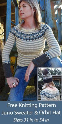"""Free Sweater Knitting Pattern Juno Sweater and Orbit Hat- Striped pullover with a circular colorwork yoke inspired by Turkish nazar boncuğu beads. There's also a matching hat. Sizes Chest/Bust: Chest: 30.5, 35, 39.25, 43.75, 45.75, 50.25, 54.5"""". Fingering weight yarn. Designed by Natasja Hornby for Knitty."""
