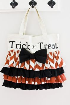 Adorable ruffled trick or treat bag made simply by adding ruffles to a canvas tote.