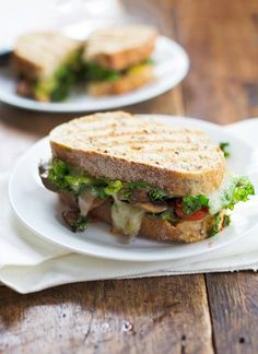 This avocado veggie panini is stuffed with lots of sauteed mushrooms, tomatoes, and kale, and smeared with avocado. Whip it up for lunch today! So yummy! | pinchofyum.com Avocado Recipes, Fruit Recipes, Veggie Recipes, Vegetarian Recipes, Cooking Recipes, Healthy Recipes, Recipes Dinner, Cooking Tips, Healthy Food