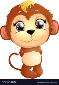 Beautiful cute monkey vector image on VectorStock Free Vector Images, Vector Free, Paint Monkey, Monkey Drawing, Monkey And Banana, Monkey Tattoos, Bear Wallpaper, Cute Monkey, Cute Clipart
