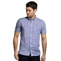 100% linnen heren shirt in een fijn blauw ruitje, button down en korte mouwen