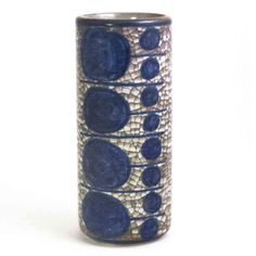Michael Andersen & Son,Cylinder Vase, Grey Crackle Glaze w/Blue Geometric Pattern Persia Glaze. Artist: Marianne Starck