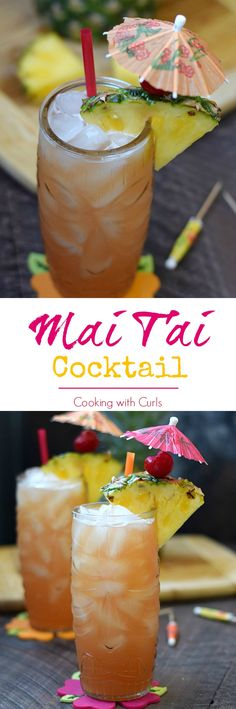 This tropical Mai Tai Cocktail will have you dreaming of the islands and fresh breezes in no time. Cocktails Made With Rum, Fun Cocktails, Summer Drinks, Cocktail Drinks, Cocktail Night, Mai Tai, Bar Drinks, Beverages, Pink Drinks