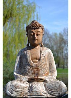 Boeddha Meditation White Wash 40 cm