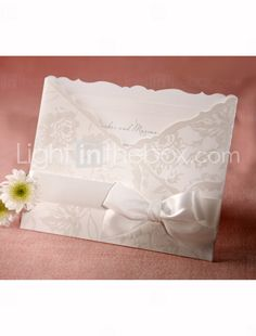 Personalized Flora Style Tri-folded Wedding Invitation With White Bow (Set of 50) - £ 79.53