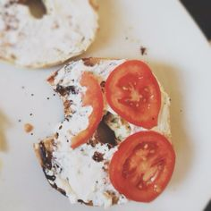 Bagel + Cream Cheese + Tomatoes!