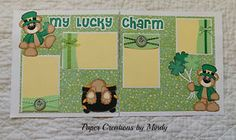 TOCG My Lucky Charm layout 12x12 premade paper piecing scrapbook page ~ Paper Creations by Mindy