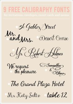 9 Totally Free Calligraphy Fonts- (These are especially great to use for showers, weddings or fancy events!) also good to INSPIRE the hand lettering! Fancy Fonts, Cool Fonts, Pretty Fonts, Fancy Script Font, Beautiful Fonts, Beautiful Flowers, Typography Fonts, Hand Lettering, Lettering Styles
