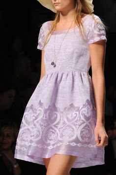 Lilac purple short-sleeve full-skirted dress with burnout / devore treatment. Blugirl at Milan Fashion Week Spring 2013