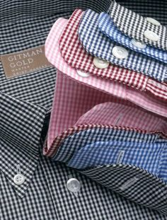 Klassiker in der Button-Down-Variante: Gingham Check Sport Shirts Sharp Dressed Man, Well Dressed Men, Bespoke Shirts, Foto Fashion, Gingham Check, Suit And Tie, Sports Shirts, Mens Suits, Casual Shirts