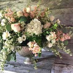 floral design in silver bowl for blush and white Nashville wedding, by Sage Nines Event Production