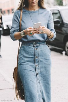 Denim street style at NY Fashion Week Spring/Summer 2016 - Jennifer Neyt look with a denim midi skirt, suede and fringe Street Style 2016, New York Fashion Week Street Style, Modest Clothing, Modest Fashion, Women's Clothing, Apostolic Fashion, Mode Outfits, Casual Outfits, Fall Outfits