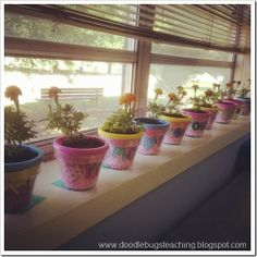 mothers day project! cute, little personalized flower pots. perfect school craft for little kids to take home.