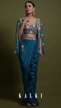 Kreetika Sharma In Kalki Teal Frill Draped Skirt With Embroidered Blouse And Cape Style Net Jacket Online - Kalki Fashion Dress Indian Style, Indian Fashion Dresses, Indian Designer Outfits, Skirt Fashion, Stylish Dress Designs, Stylish Dresses, Indian Wedding Outfits, Indian Outfits, Draped Skirt