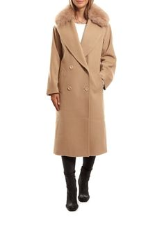 Beige long double button blazer fox fur collar jacket by 'Jessimara Fur' features long sleeves, pockets on either side and a detachable fox fur collar. Fur Collar Jacket, Fur Clothing, Fiery Red, Fur Collars, Fox Fur, Winter Outfits, Beige, Blazer, Coat