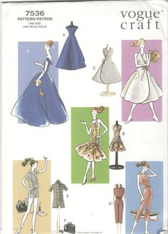 Your place to buy and sell all things handmade Barbie Sewing Patterns, Bag Patterns To Sew, Doll Clothes Patterns, Doll Patterns, Apron Patterns, Dress Patterns, Vintage Vogue Patterns, Wrap Dress Short, Barbie Basics