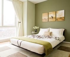 Soft Green Paint Colors For Bedroom and White Curtain Windows