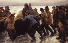 Michael Ancher: Fishermen launching a rowing boat – 1881