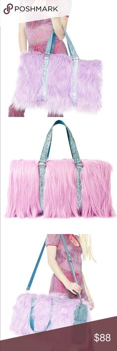 """⭐️️sale⭐️️Fuzzy sequin weekender Sugar Thrillz Wannabe Shagadelic Weekender will make ya a first-class kawaii cutie fer a day, babe!. This super sparkly weekender bag features an amazing pastel purple colored faux fur construction all ova the roomy structured base, hyper glittery aqua contrast panels 'N carrying straps, top zip closure, and adjustable shoulder strap.   Materials: Man Made Materials 10.5"""" H x 20"""" L x 9"""" D Bags Travel Bags"""