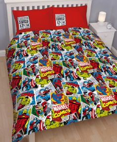 This fantastic Marvel Comics Duvet Cover Set is a must for fans of all ages! The reversible duvet cover has a fantastic comic book theme featuring all your Marvel favourites including Captain America, Thor, The Hulk and Iron Man on the front. Double Bedding Sets, Double Duvet Set, Double Quilt, Double Duvet Covers, Duvet Sets, Duvet Cover Sizes, Quilt Cover Sets, Captain America, Avengers Bedding