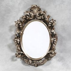 Large Silver Oval Carved Rococo/Baroque Wall Mirror Bevelled Glass New | eBay
