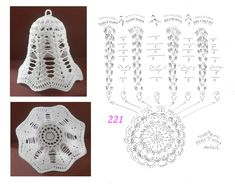 Gorgeous Christmas set of 6 crocheted ornaments. Handmade Christmas ornaments made with high - AmigurumiHouse Crochet Christmas Decorations, Crochet Decoration, Crochet Ornaments, Christmas Crochet Patterns, Crochet Snowflakes, Crochet Lamp, Crochet Doilies, Crochet Flowers, Crochet Angels