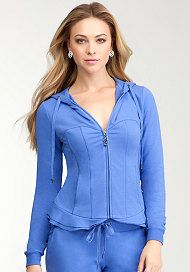 buy oversize hoodie add princes line seams to it  and ruffles for a Corset Hoodie Jacket