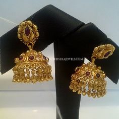 Gold Jhumka With Red Stones, Gold Jhumka With Rubies, 22K Gold Jhumka With Red Stones.
