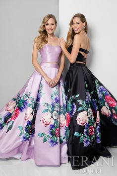 Stunning designer prom gown with a solid strap back bustier top and a ball gown skirt adorned with bright placed florals. This red carpet ready special occasion dress from our prom collection comes in lavender/multi, black/multi and ivory multi.