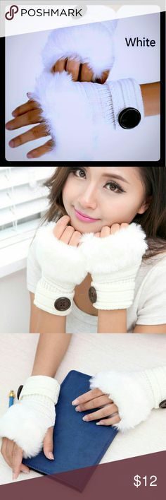 🌹H.P.🌹WHITE CROCHET FINGERLESS FUR WRIST GLOVES BNWT - IN ORIGINAL PACKAGING. WHITE CROCHET FINGERLESS FUR WRIST GLOVES W/ DARK BROWN BUTTON DETAIL! THANK YOU TO @creative2 HEIDI FOR THIS HOST PICK FOR FLIRTY FAVORITES😘 Accessories Gloves & Mittens
