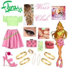 A Flora Winx Club inspired outfit. Badass Halloween Costumes, Halloween Kostüm, Halloween Outfits, Anime Inspired Outfits, Themed Outfits, Club Outfits, Cartoon Outfits, Disney Outfits, Casual Cosplay