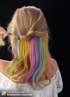 Pastel Hidden Rainbow Hair Video Tutorial. Hair by Anya Goy.