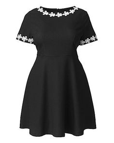 AX Paris Daisy Lace Collar Skater Dress. For more inbetweenie and plus size ideas, go to www.dressingup.co.nz