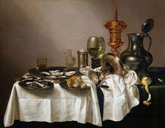 """Una tavola più lussuosa è quella rappresentata da Willem Claes Heda (""""Natura morta con boccale dorato"""") dove sono messi in primo piano i resti di una cena ..."""